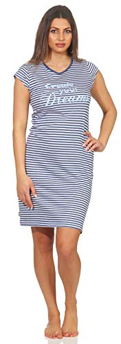 Baumwoll-print-nachthemd (Damen Nachthemd blau Weiss gestreift 44/46 (L) kuschelig angenehm zu tragen mit Druck Print kleinem Spruch Dream schönes Aussehen Schlafshirt Hausshirt Shirt)