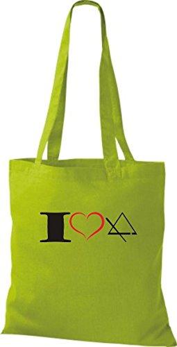 Shirtstown Pochette en tissu Musique I Love Triangle Triangle Vert - kiwi