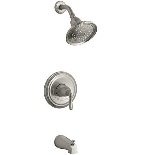Kohler ts395-4e-bn Devonshire (R) rite-temp (R) Badewanne und Dusche Ventil Zierleiste mit Hebel Griff, NPT Auslauf und 2.0GPM Duschkopf (R) (R) - Bn Devonshire Single