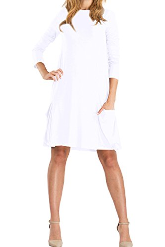 YMING Damen Langarm Kleid Lose T-Shirt Kleid Rundhals Casual Tunika mit Taschen Midi Kleid,Weiß,L/DE 40-42