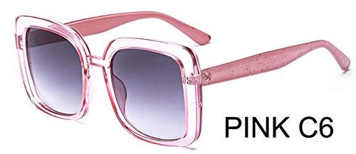 LKVNHP Sterne Leuchten Kunststoffrahmen Festival Celebrity Square Sonnenbrille Damen Mode Frauen Brille Uv Protector ChampagneWTYJ029 rosa C6