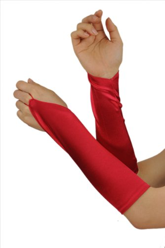 Efashionsquare Solid Farbe Fingerminus Satin Elbogen Handschuhe (Kind Opera Handschuhe)