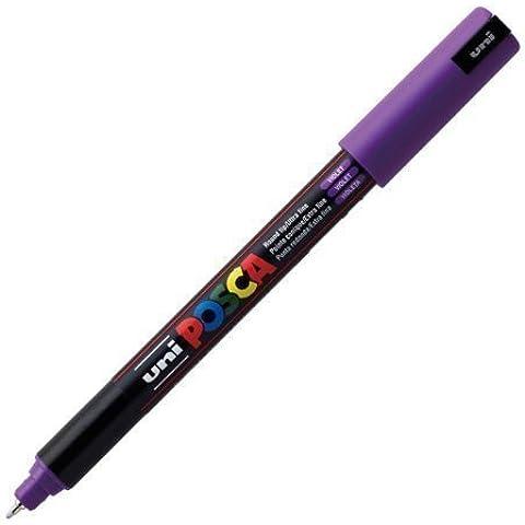 Uni Posca PC-1MR-Evidenziatore-penna in vetro con punta a proiettile, tratto Extra Fine da 0,7 mm, colore: viola - Proiettile Tip Marker Pen
