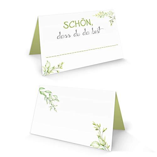 Logbuch-Verlag 50 Tischkarte SCHÖN DASS DU DA BIST weiß grün hellgrün maigrün apfelgrün floral Natur natürlich kleine Karten für Namen Tischdeko Hochzeit Fest Kommunion Feier FÜR JEDEN Stift