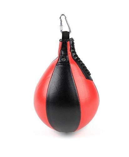 Leuchter Boxbirne Punching Ball Speedball Punchingball Maisbirne Speed Ball für Erwachsene und Kinder + für Zuhause und Fitnessstudio, inkl. Karabinerhaken (Rot/Schwarz)