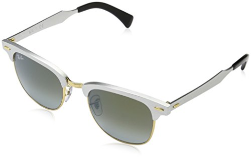 Ray Ban Unisex-Erwachsene Sonnenbrille Clubmaster Aluminium, Mehrfarbig (Gestell: Silber,Gläser: grünverlauf 137/9J), Medium (Herstellergröße: 51)