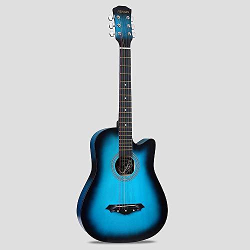 k-Akustikgitarre Hochwertige Buche Anfänger üben Young Boys Girls Gitarre mit Bag Strap String Tuner Capo Poliertuch ( Color : Blue ) ()