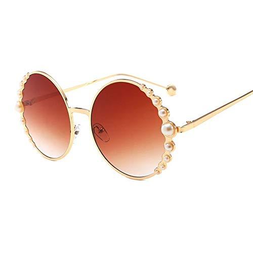 MJDABAOFA Sonnenbrillen,Übergroße Damen Sonnenbrille Mit Perlen Runde Farbtöne Für Frauen Gold Frame Braune Linse Designer Pearl Frauen Sonnenbrille
