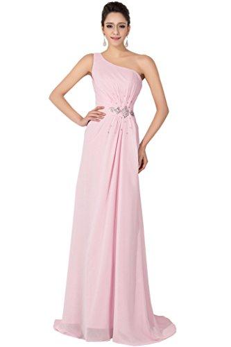 Sunvarey elegante Chiffon Prom Illusion per vestiti da sera, abiti da damigella d'onore Rosa