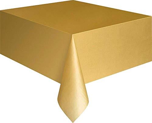 (Tischdecke aus Kunststoff, wiederverwendbar in 19 verschiedenen Farben (Einheitsgröße) (Gold))