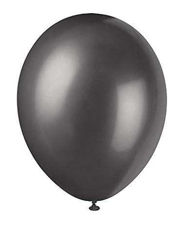 Unique Party - 80090 - Paquet de 8 Ballons Nacrés en Latex - 30 cm - Noir