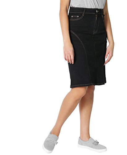 KRISP Panelled Regular A-Line Denim Skirt (Schwarz, Gr.40) (2117-BLK-12) - Office Line Kollektion