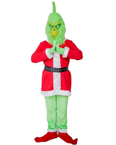 Mesky Grinch Cosplay Kostüm Halloween und Christmas Costume Inklusive Maske Unisex Outfit Film Zubehör Leicht, Bequem, Atmungsaktiv