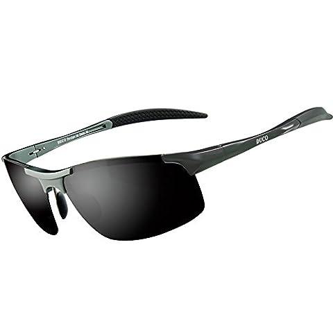 Duco Men's Driving Sunglasses Polarized Glasses Sports Eyewear Fishing Golf Goggles 8177S (Gunmetal Frame,Gray Lens)