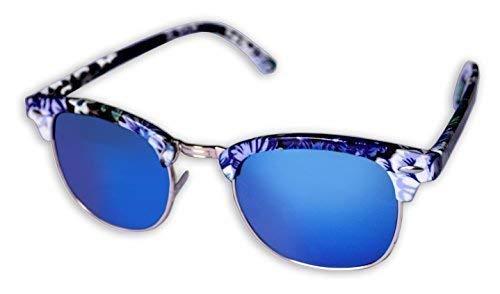 Ohne Marke / Generic - Sonnenbrille Sunglasses Frauen Männer Clubmaster Gestell Weiß Schwarz Violett Blumenmuster Lenti A Blaue Spiegel
