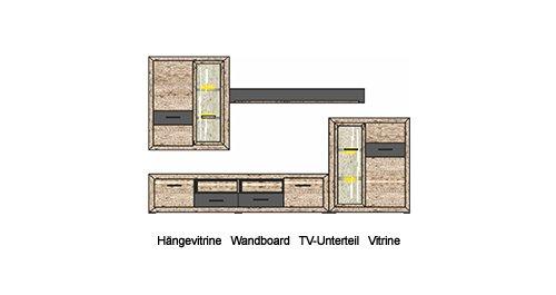 4-tlg. Wohnwand in San Remo Eiche-hell-Nb. mit Abs. in graphit Hochglanz, 2 Vitrinen, TV-Unterteil, Wandboard, Maße: B/H/T ca. 297/197/45 cm - 3