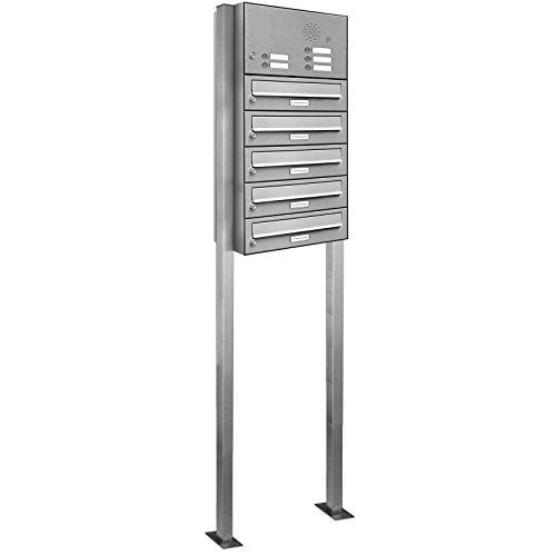 AL Briefkastensysteme 5er V2A Edestahl mit Klingel, Stand Briefkasten rostfrei als 5 Fach Briefkastenanlage Freistehend in Postkasten Design modern