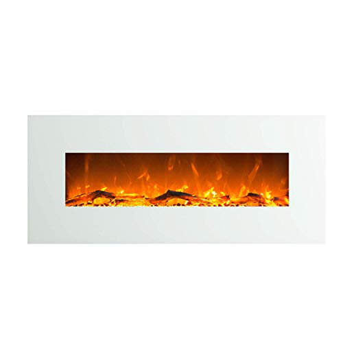 Glow Fire Elektrokamin mit Heizung, Wandkamin mit LED | zuschaltbarer Heizlüfter mit 750 oder 1500 W | Fernbedienung (Größe L - 128 cm, Weiß)