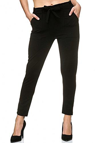 Elara Damen Stretch Hose | Gummibund | Stoffhose mit Schleife | Slim Fit | Chunkyrayan 7722 Black 34/XS