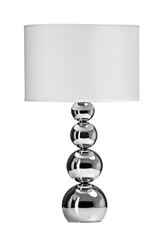 Premier Housewares Touch Lamp with 4 Graduated Silver Metal Ball and White Shade Best Price and Cheapest
