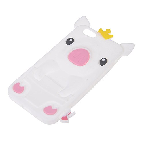 COOLKE Mode 3D Style Cartoon Soft Rubber de gel de silicone coque Housse étui Case Cover Pour Apple iPhone 6 6S (4.7 inches) - Rose Pink Blanc
