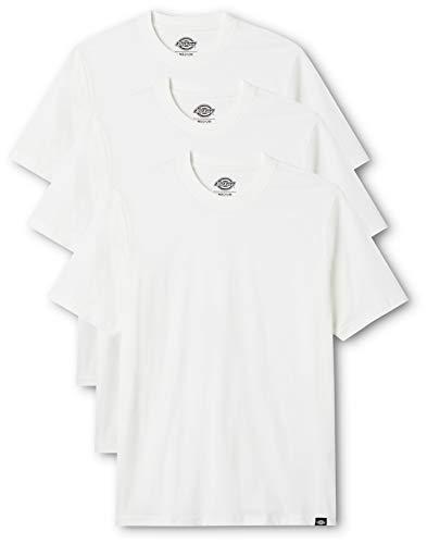 Dickies Herren Rundhals T-Shirt, 3er Pack, Weiß, L