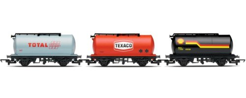 hornby-r6366-railroad-shell-texaco-total-3-pack-fuel-00-gauge-tanker-wagon-rolling-stock
