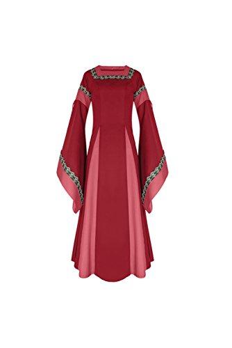 Vestido Largo de Noche de Estilo Victoriano Gotico Medieval Renacentista con Manga de Llamarada Rojo, M