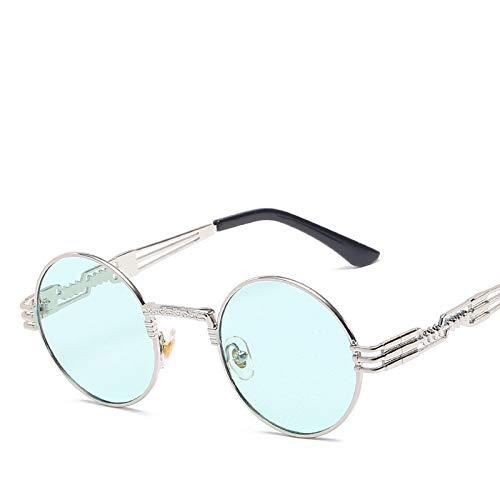 Sonnenbrille Herren Gold Und Schwarz Sonnenbrille Vintage Round Circle Damen UV Gafas De Sol (Lenses Color : Green)