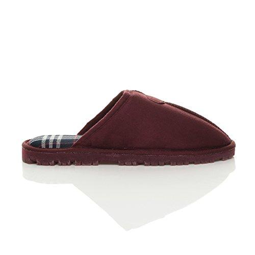Hommes hiver fourrure luxe chaud confortable cadeau pantoufle chaussons pointure Écossais bordeaux rouge
