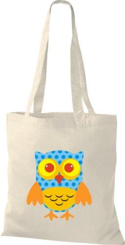 Stoffbeutel Bunte Eule niedliche Tragetasche mit Punkte Owl Retro diverse Farbe natur