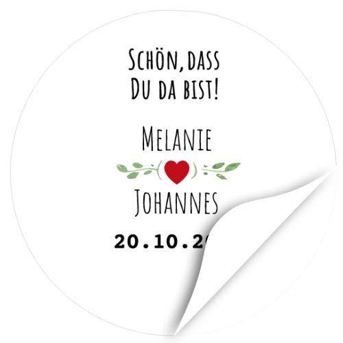 24 runde Design Etiketten zur Hochzeit personalisiert - Edel, schlicht mit rotem Herz - Schön, dass Du da bist mit Namen und Datum individuell Braut und Bräutigam - Hochzeits-Aufkleber