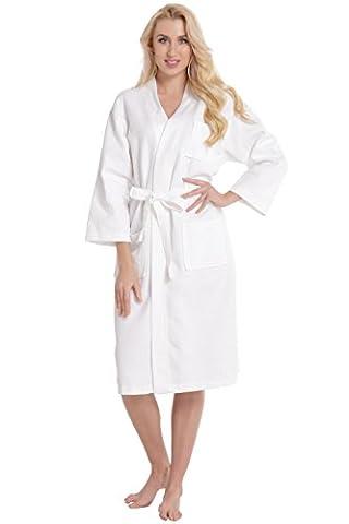 Aibrou Robe de Chambre Kimono Tissage Gaufré Femme 100% Coton Waffle Peignoir de Bain Légère col V Unisexe Pyjama Pour l'hôtel Spa Sauna Vêtements de nuit ( Blanc L)