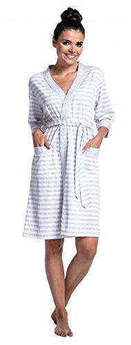 Zeta Ville - Umstands Lagen-Still-Pyjama 3/4 Ärmel Streifenmuster - Damen - 394c Morgenmantel - Hellgrau