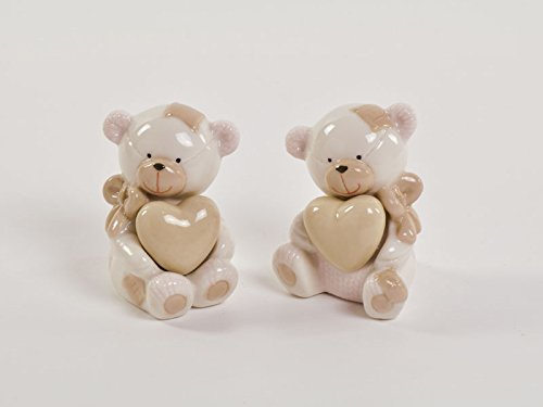 12 orsetto bomboniere battesimo nascita compleanno bimba rosa porcelana dgs50110