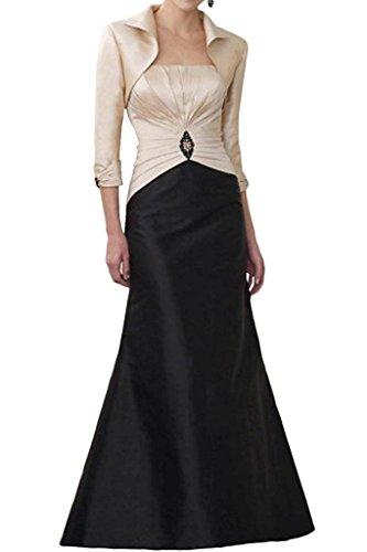 La_Marie Braut Damen Elegant Langes Abendkleider Brautmutterkleider Etuikleider Figurbetont mit Bolero -48 Beige/Schwarz