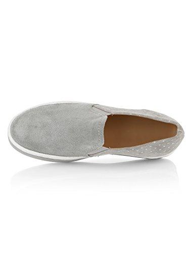 Damen Slipper by Alba Moda Grau-Weiß
