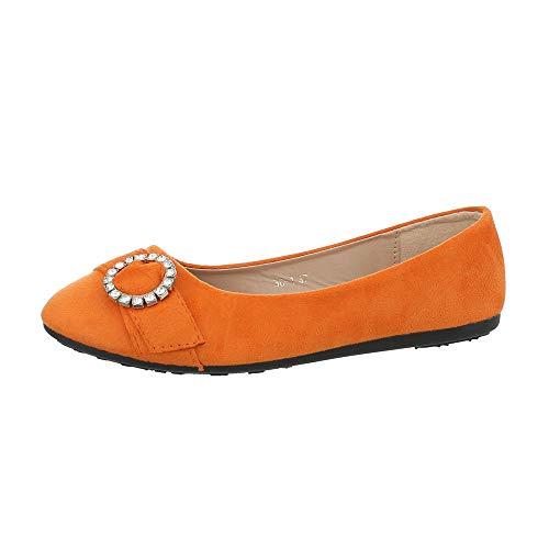 Ital-Design Damenschuhe Ballerinas Klassische Ballerinas Synthetik Orange Gr. 38 - Schuhe Ballerinas Orange Frauen