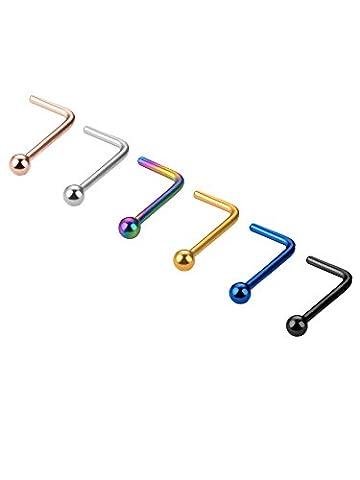 20 Gauge 6 Stück Nasen Stud Stahl Nasenringe Kugel L Förmig Ring Pins Piercing Schmuck, 6 Farben
