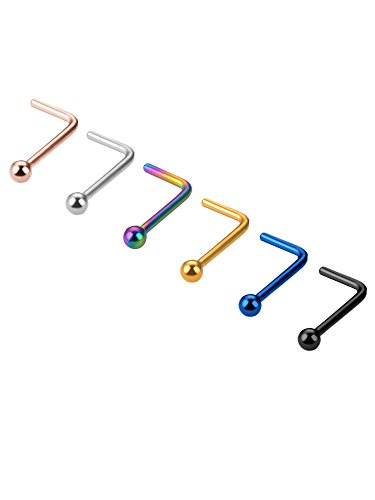 Mudder 20 Gauge 6 Piezas Pendiente de Nariz Aro de Nariz de Acero Anilla en Forma de L Joyeria de Piercing, 6 Colores