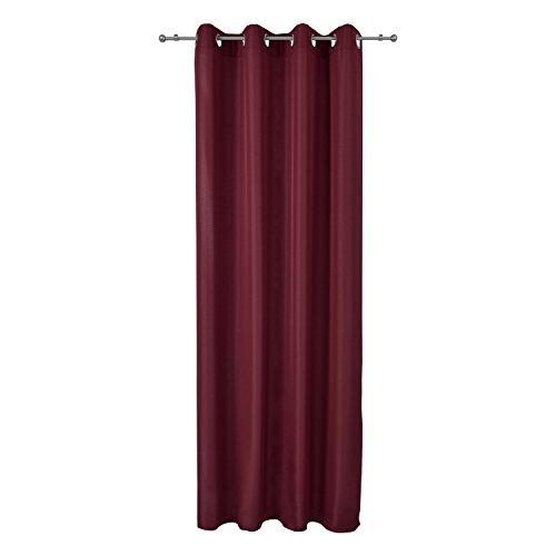 Beautissu Fenster Vorhang Ösen-Vorhang Amelie - 140x245 cm Bordeaux Wein-Rot Dekorative Gardine Ösenschal Fenster-Schal