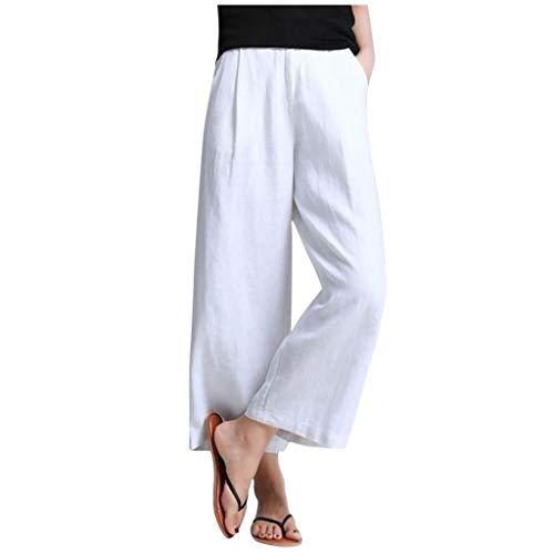 Wawer, modisch, Frauen, Freizeit, robust, hohe Taille, Knopf, breit, komfortable Hose, lose Hose, große Größe XXXL weiß Super Hip Flare Jeans
