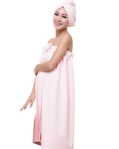 Womens Wearable Super Soft Water Absorbent Microfiber Sweet Bowknot Spa Bath Towel Tube Dress Sets With Shower Cap