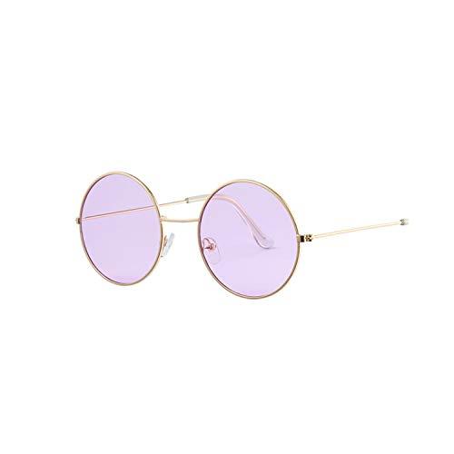Sportbrillen, Angeln Golfbrille,Fashion Bule Round Sunglasses Women Brand Designer Luxury Sun Glasses For Women Cool Retro Female Sunglasses Oculos Gafas Gold Purple