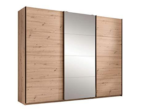 Avanti trendstore - olmo - armadio con 3 ante scorrevoli con parte centrale specchiata, in legno laminato di colore quercia artigianale. dimensioni: lap 270x210x60 cm
