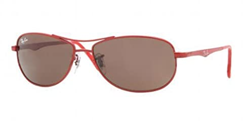Ray Ban Junior 9528s Metallized Red Frame/Brown Lens Metal Sunglasses