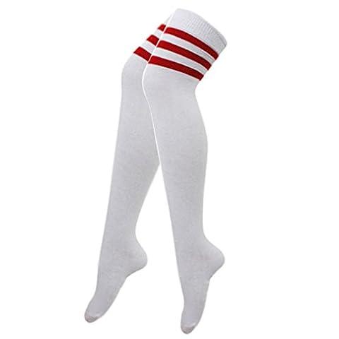 118 d'arbitre de Football pour femme-dessus du genou Motif rayures haute Robe longue Chaussettes de Sport - Blanc -