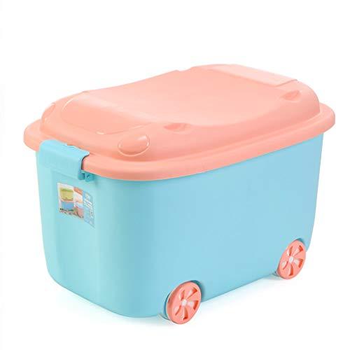 CJH Kreative Große Aufbewahrungsbox Kinderspielzeug Cartoon Kunststoff Aufbewahrungsbox Mit Rädern Kleidung Aufbewahrungsbox Blau