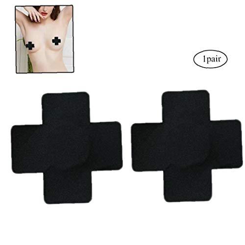 Zonfer Wasserdicht Atmungswegwerfnippel Paste Chest Aufkleber für Frau (schwarz)