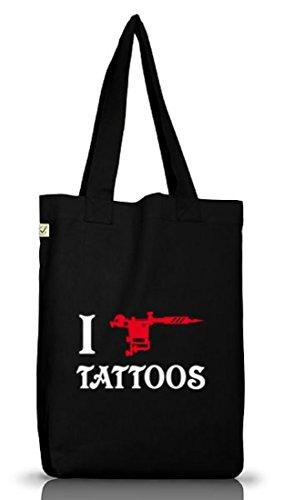 Shirtstreet24, I LOVE TATTOOS 2, Tätowierung Tätowierer Jutebeutel Stoff Tasche Earth Positive Black